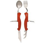Fox Outdoor Fox Outdoor - Pocket Knife Bestek Set  -  6 in 1  -  Rood  -  Deelbaar