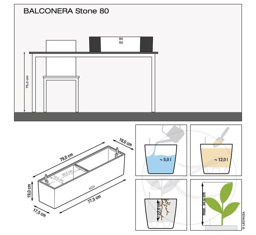 Lechuza - plantenbak BALCONERA STONE 80 kwarts wit ALL-IN-ONE set