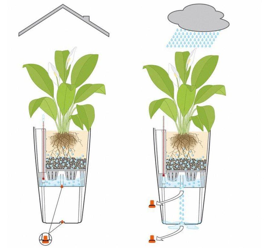 Lechuza - plantenbak CUBICO PREMIUM 50 Zwart hoogglans ALL-IN-ONE set  - Tweede keus