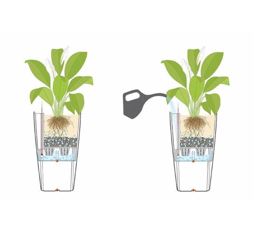 Lechuza - plantenbak CUBICO PREMIUM 50 Zilver metallic ALL-IN-ONE set - Tweede keus