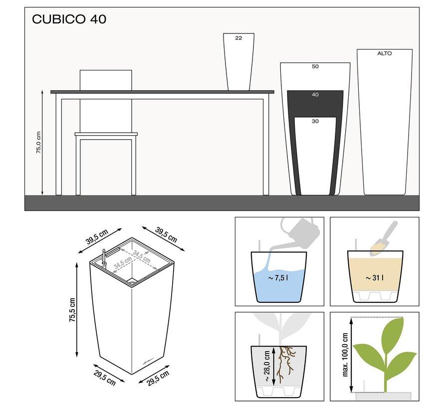 Lechuza - plantenbak CUBICO PREMIUM 40 Scharlakenrood hoogglans ALL-IN-ONE set