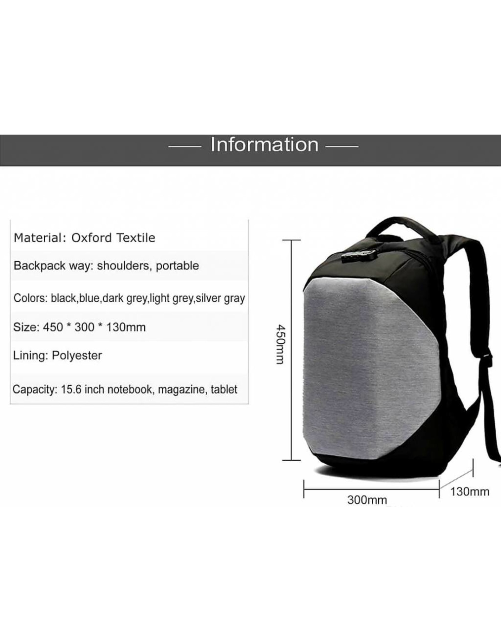 Laptop rugtas / Laptoptas met cijferslot, anti-diefstal, lichtgewicht en trendy, UNISEX,met USB-oplaadaansluiting, GRATIS Regenhoes, voor laptops/tablets tot 15.6 inch