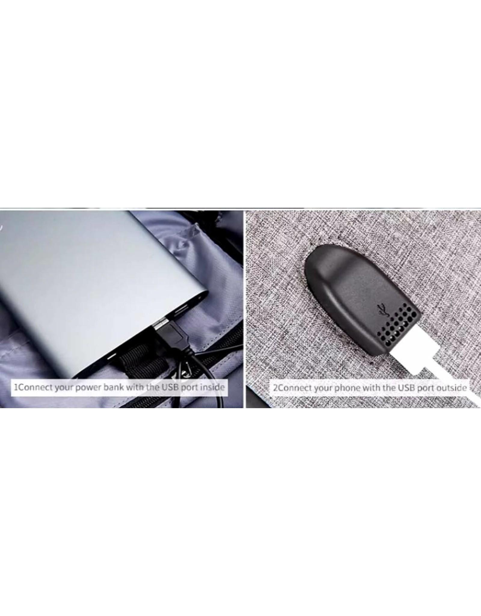 Laptoprugtas met USB-aansluiting voor opladen smartphone, waterdicht, met cijferslot