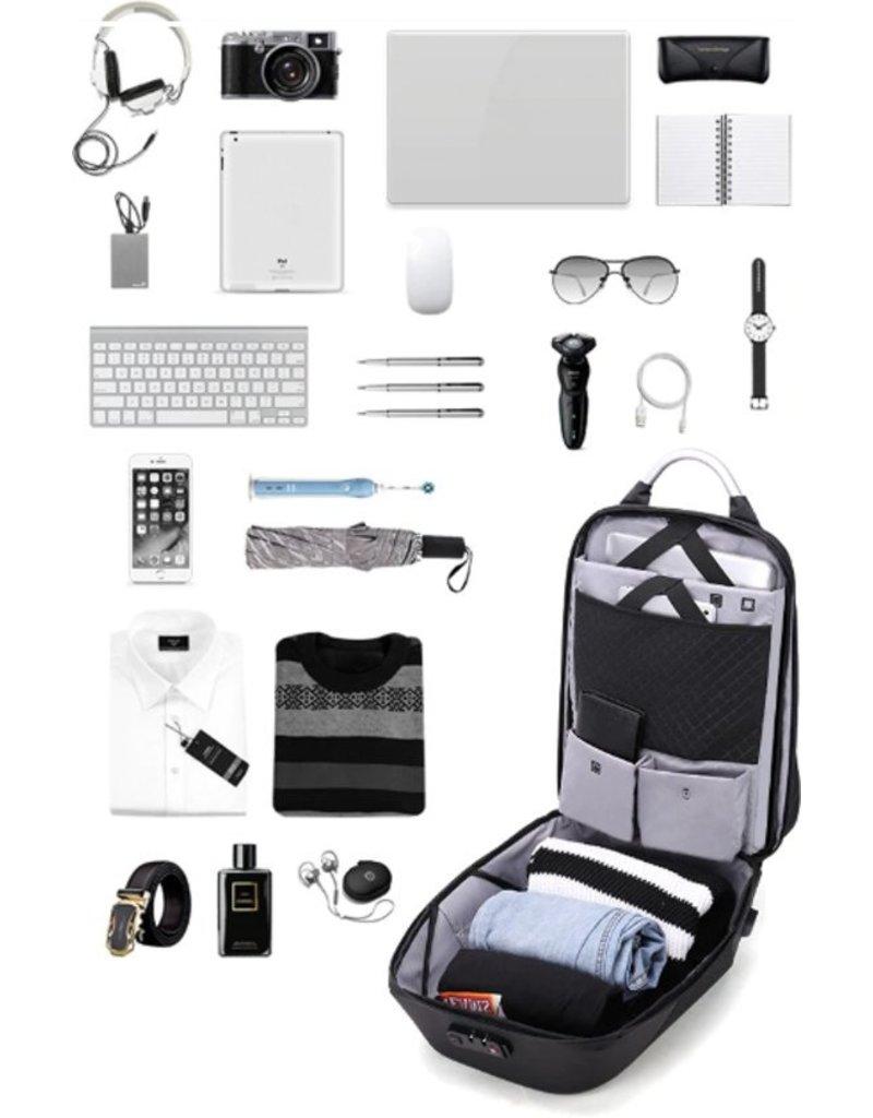 Compacte, stevige en moderne Laptoptas 15 inch Donker Grijs, beschermend tegen diefstal; met cijferslot en waterdicht, met een externe USB-aansluiting voor het opladen