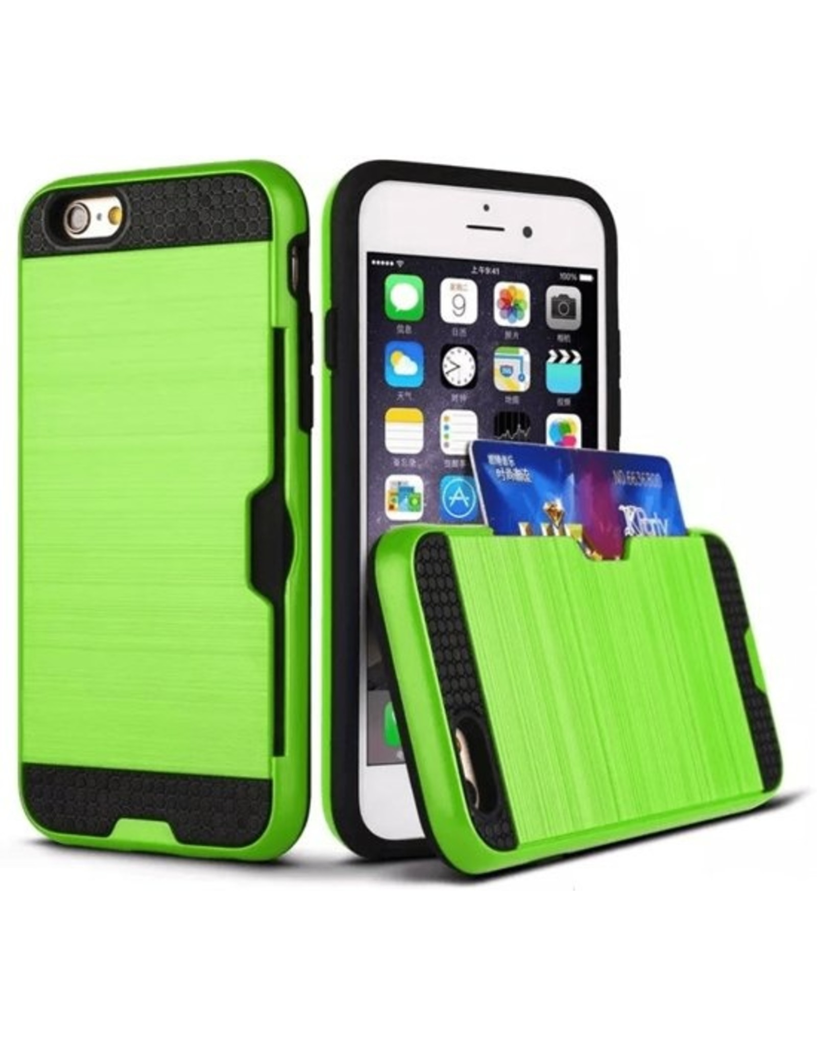iPhone hardcase, schokbestendig hoesje met bankpas vakje