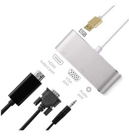 USB-C 4 in 1 adapter, HDMI, VGA, 3.5mm Audio Adapter en extra USB poort