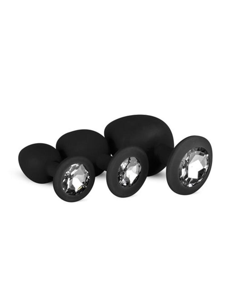 Easytoys Anal Collection Analplug aus Silikon mit Diamant - Schwarz