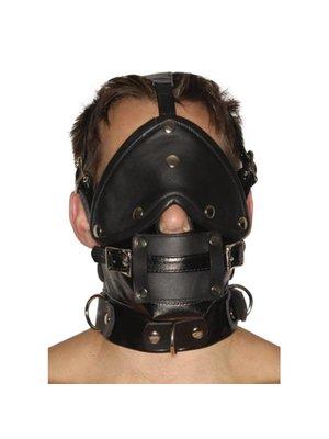 Strict Leather Streng aussehender Premium-Maulkorb aus Leder mit Augenbinde und Knebel