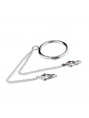 Sinner Gear Metall-Halsband mit Nippel-Klammern