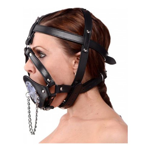 Master Series Kopf-Harness aus Leder mit Knebel