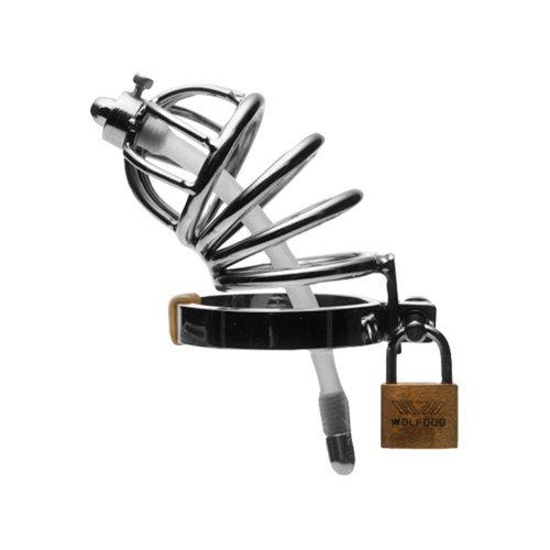 Master Series Produkt: Edelstahl-Keuschheitskäfig mit Harnröhrenstecker aus Silikon
