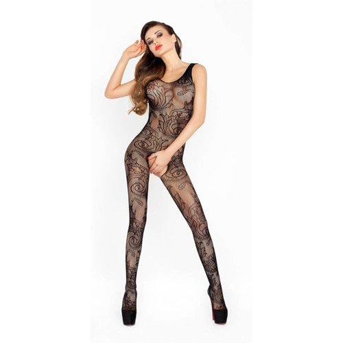 Passion Catsuit aus schwarzem Netzmaterial mit offenem Schritt