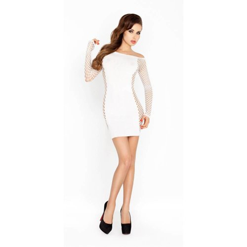 Passion Weißes Minikleid mit Ärmeln aus Netzmaterial