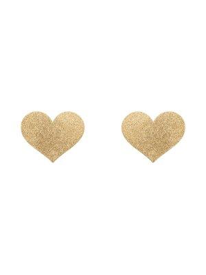 Bijoux Indiscrets Flash herzförmiger Nippelaufkleber - golden