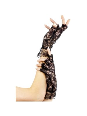 Fever Kurze, fingerlose Handschuhe aus Spitze in Schwarz