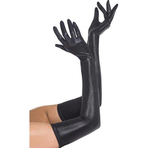 Fever Lange Handschuhe im Wetlook in Schwarz