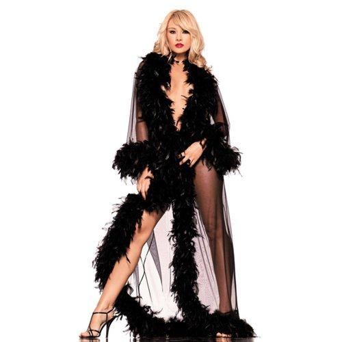 Be Wicked Bodenlange Robe mit Federn verziert - schwarz