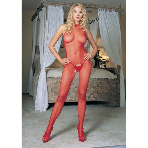 Leg Avenue Neckholder-Bodystocking aus Netzmaterial in Rot