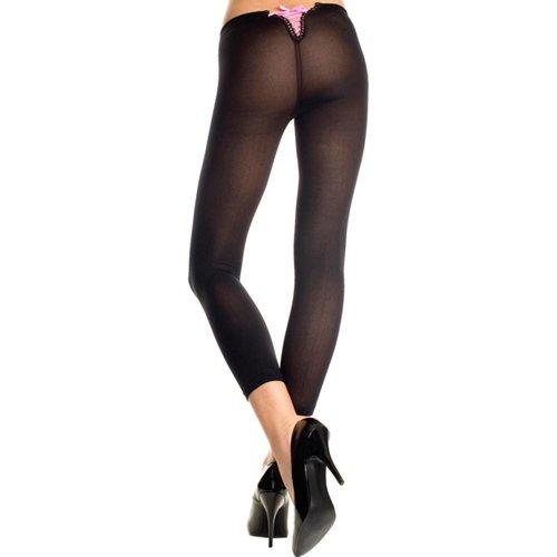 Music Legs Einfache Leggings mit rosa Schnürung - Schwarz