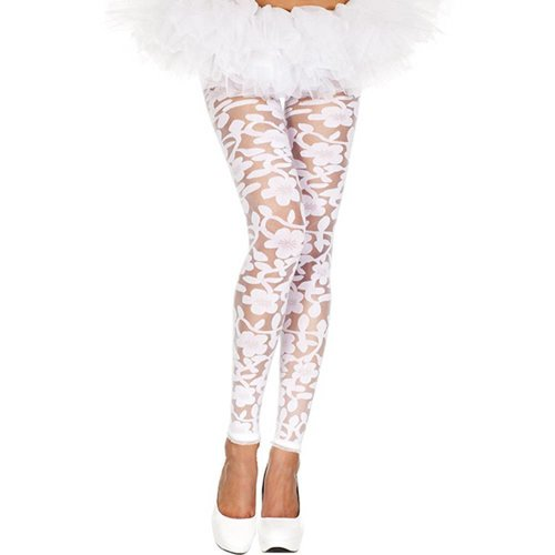 Music Legs Transparente Leggings mit Blumendesign - Weiß