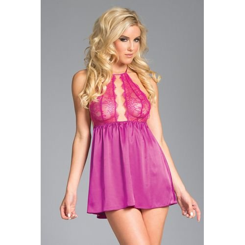 Be Wicked Langes Satin Babydoll mit Spitzen-Cups - pink