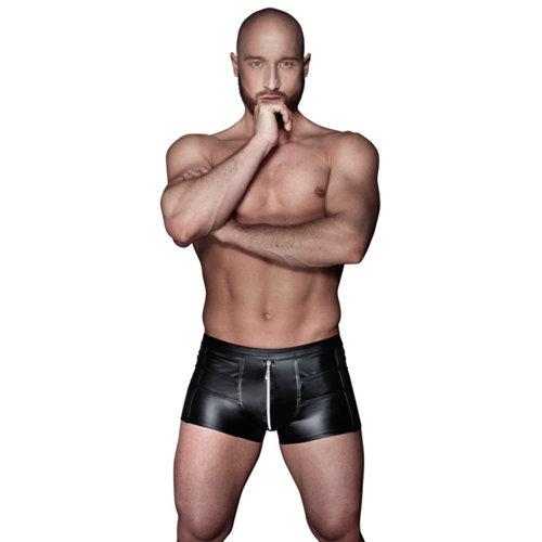 Noir Handmade Wetlook Boxershorts mit Reißverschluss