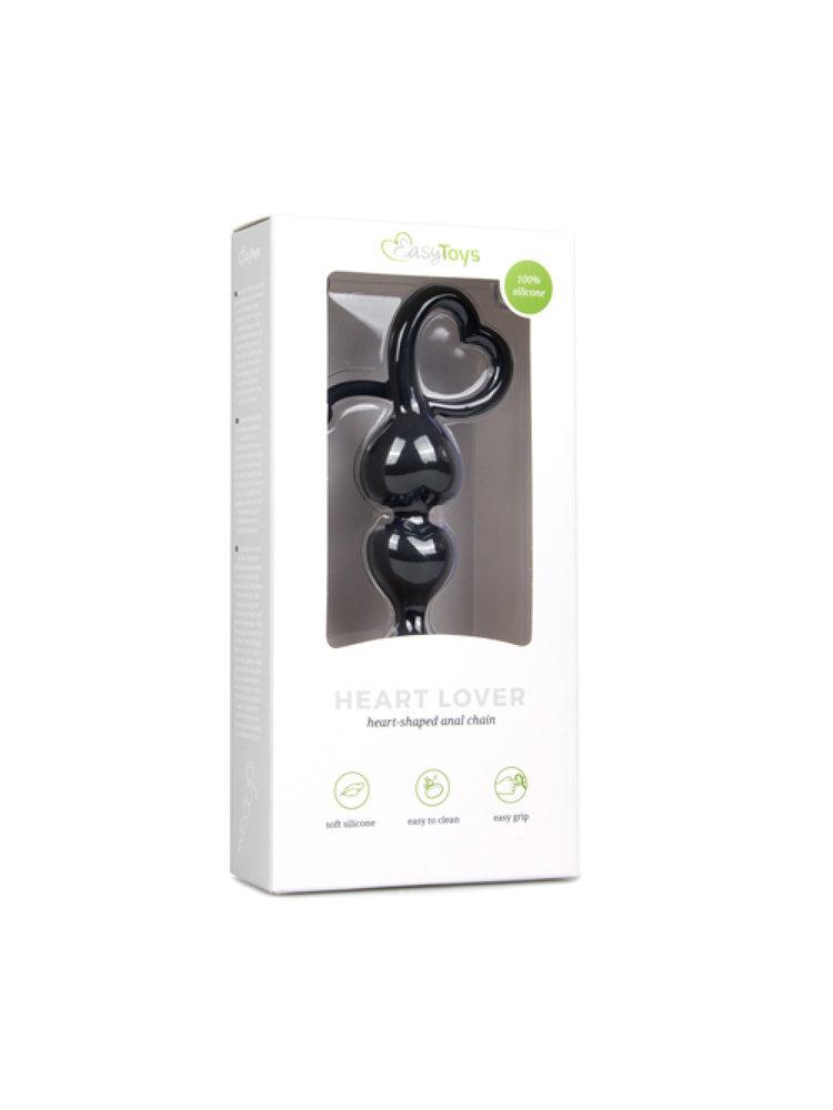 Easytoys Anal Collection Schwarze Analkugeln mit herzförmigem Griff