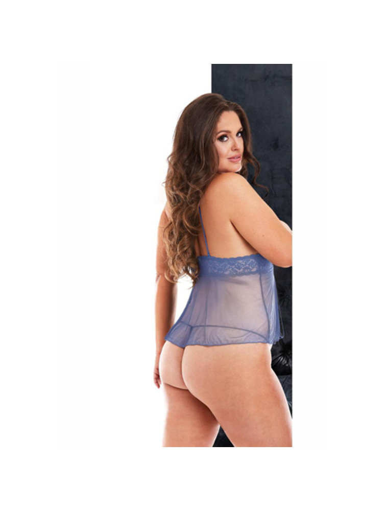VIP Babydoll mit offenen Cups und Stringtanga ouvert - Queen Size