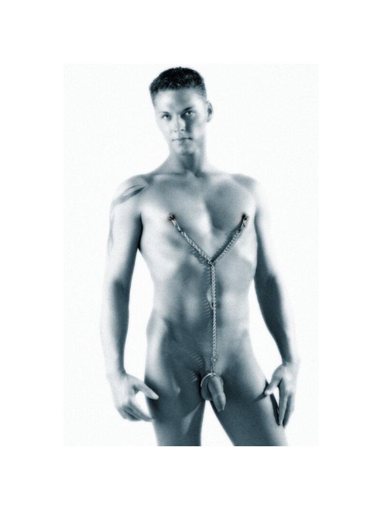 Sextreme Brustklemmen+Penisringe Kette
