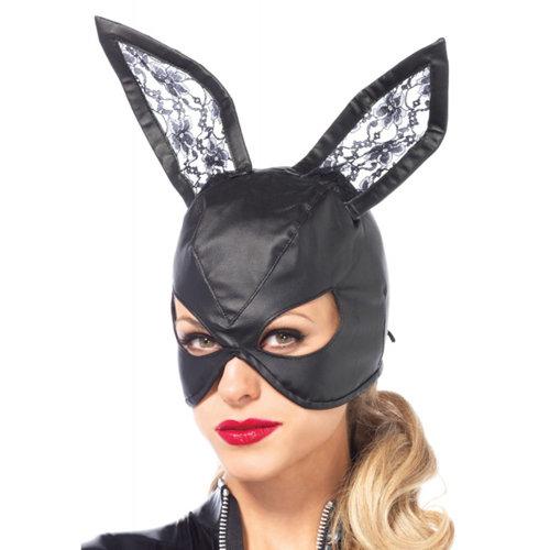 Leg Avenue Bunny-Maske aus Kunstleder - Schwarz