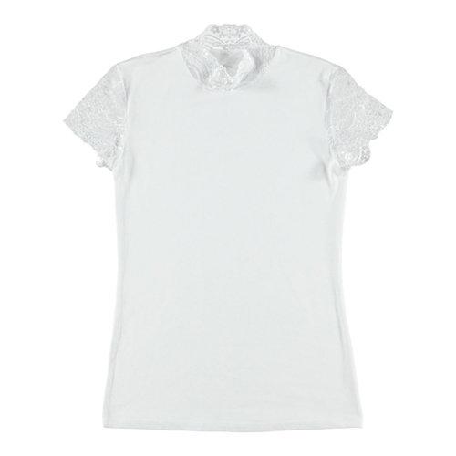 Doreanse Shirt mit Spitzenärmeln - weiß
