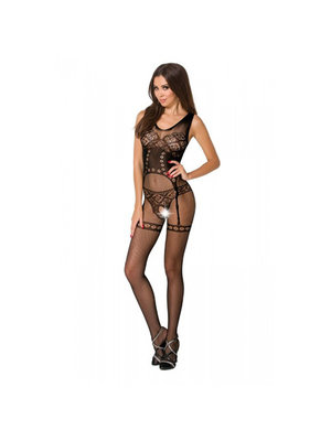 Passion Ouvert Bodystocking mit Strumpfhalterdruck