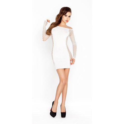 Passion Weißes Minikleid mit Netz-Ärmeln