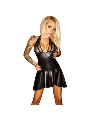 Noir Handmade Wetlook-Kleid mit Powernet