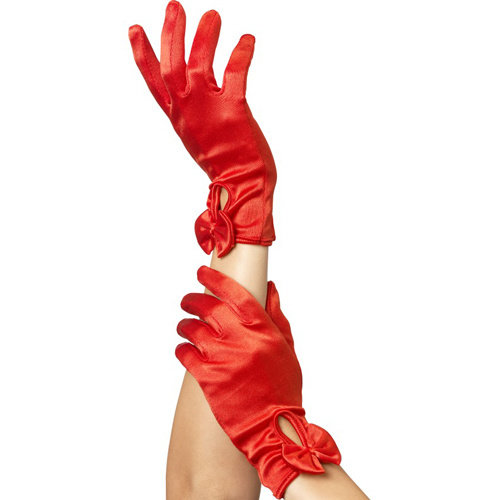 Fever Handschuhe mit Schleife - Rot