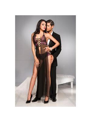 Music Legs Durchsichtiges Kleid mit mehreren Bändern und extra lange Seitenschlitze