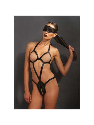 KINK Bondage-Body mit passender Augenbinde in Schwarz