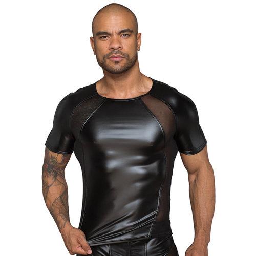 Noir Handmade Wetlook Shirt mit Netzeinsatzen