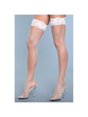Be Wicked Amber Netzstrümpfe mit Spitze - Weiß
