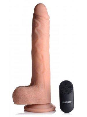 Big Shot Vibrierender und stoßender XL-Dildo mit Saugnapf und Hoden - Beige