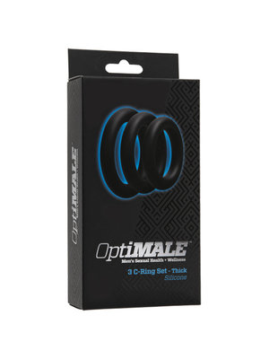 OptiMALE 3-teiliges Penisring-Set - Dick- Schwarz