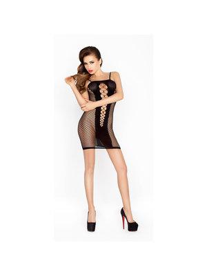Passion Durchsichtiges schwarzes Kleid mit offenen Seiten