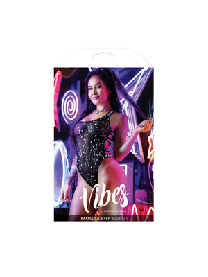 Vibes Bodysuit mit Tierkreiszeichen bedruckt - Schwarz/Metallic