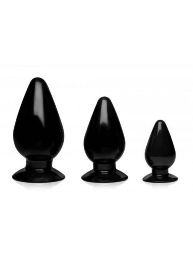 Master Series 3-teiliges Anal-Steckerset mit drei Kegeln - schwarz