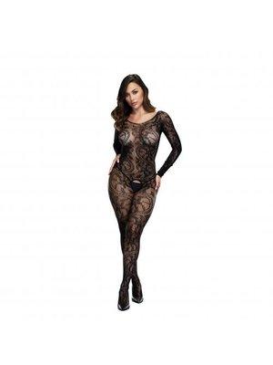 Baci Lingerie Baci - Sexy Net-Catsuit mit offenem Schritt mit langen Ärmeln