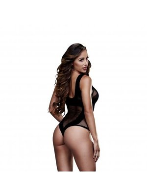 Baci Lingerie Baci - Durchsichtiger Netz-Bodysuit - Schwarz