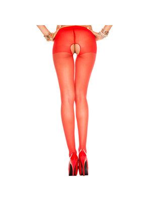 Music Legs Rote Strumpfhose mit offenem Schritt - Musiclegs