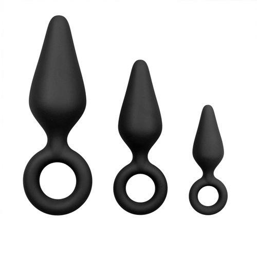 Easytoys Anal Collection Schwarze Buttplugs mit Rückholring - Set