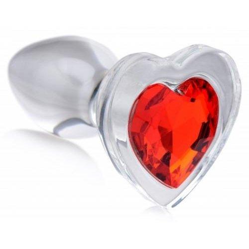 Booty Sparks Red Heart Glas-Analplug mit Schmuckstein - Groß