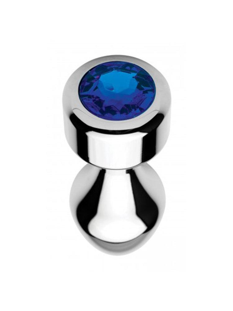 Booty Sparks Aluminium Butt Plug mit blauem Kristall - Groß